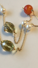 akoya pearl and miscellaneous gemstone necklace