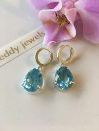 silver blue topaz drop earrings