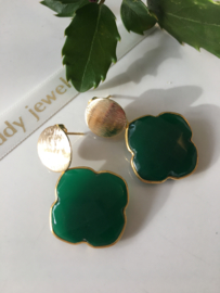 green onyx clover earrings