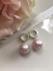 ivory purple pink pearl earrings (silver)