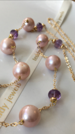 pinkpurple pearls and amethyst necklace