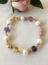 parelarmband amethist roze opaal citrien roze amethist