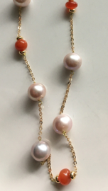 purple ivory pearl with carnelian necklace