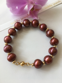 pearl bracelet (brownred)