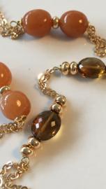 red aventurine with cognac quartz necklace