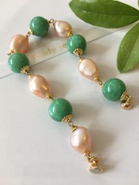 groene angeliet zalm barokparel armband