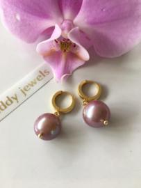 large purple Edison pearl creole earrings