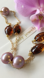 purple Edison pearl with cherry brown amber necklace