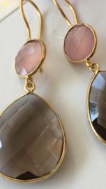 rookkwarts met roze chalcedoon oorbellen