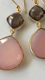 roze chalcedoon met rookkwarts oorbellen
