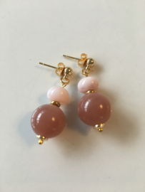 moonstone roze opaal oorbellen