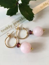 rose quartz rhodolite garnet earrings