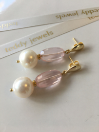 white pearl rose quartz earrings