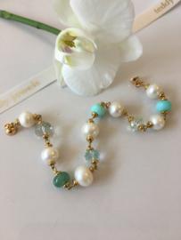 parelarmband blauwe opaal groene aventurijn aquamarijn groene amethist