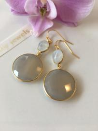 grey chalcedony with oval moonstone earrings