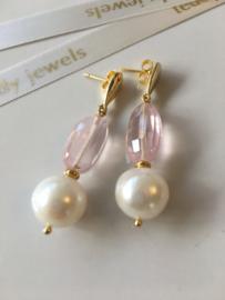 white pearl rose quartz earrings