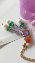 white pearl green onyx faceted amethyst carnelian tassel necklace