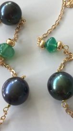 blackgreen pearls with smooth green onyx necklace