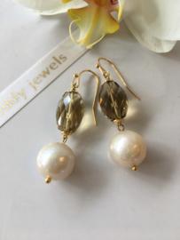 creamy pearl with honey quartz earrings