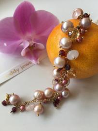 roze parelarmband rozenkwarts, granaat en citrien