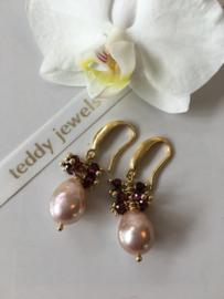 metallic pink red garnet earrings