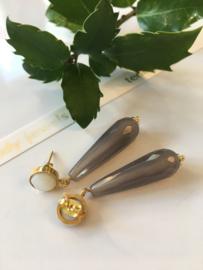 mother of pearl grey agate earrings