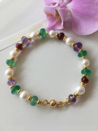 white pearl faceted amethyst green onyx and smooth red garnet bracelet