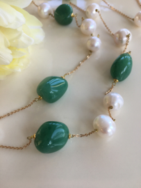 green aventurine with large white pearls necklace