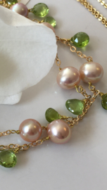 pink pearls with peridot necklace