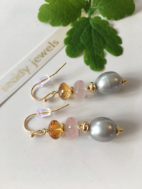 grey pearl rose quartz citrine earrings