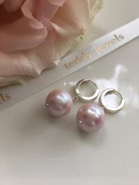 ivoor paarsroze pareloorbellen (zilver)