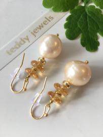 creamy pearl citrine earrings