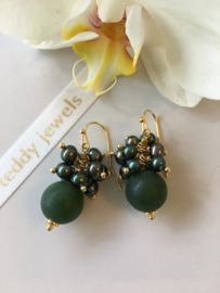 frosted green stone with dark green pearl earrings