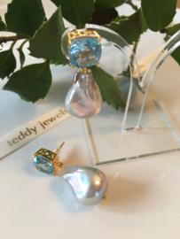 blue topaz silver baroque pearl earrings
