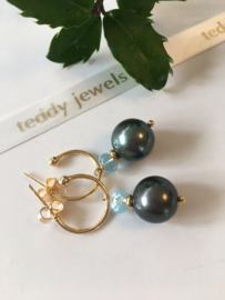 greygreen pearl aquamarine earrings