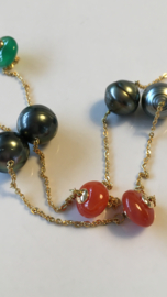 grey pearl miscellaneous gemstone necklace
