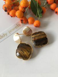 tiger eye clover earrings