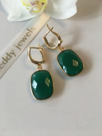 green onyx earrings (rectangular faceted stone)
