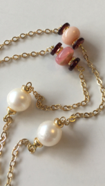 ivory pearls and pink opal necklace