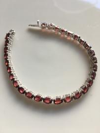 rhodoliet granaat tennis armband (zilver)