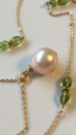 goldenpink pearl with peridot necklace