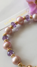 light purple pearls with faceted amethyst bracelet