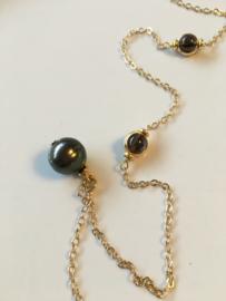 greygreen pearl with smoky quartz necklace