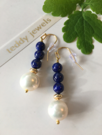 pearl lapis lazuli dangle earrings