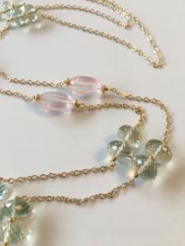 green amethyst rose quartz necklace