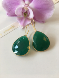faceted green onyx (large drop) earrings