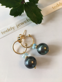greygreen pearl aquamarine earrings