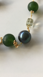 frosted green stone with blackgreen pearls and green amethyst necklace