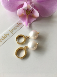 white pearl creole earrings