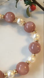 peach moonstone and akoya pearl bracelet